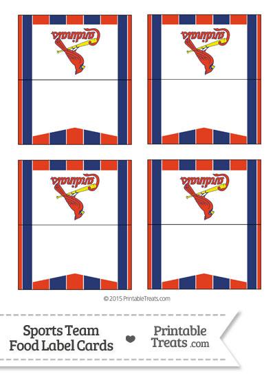 St Louis Cardinals Food Label Buffet Cards from PrintableTreats.com