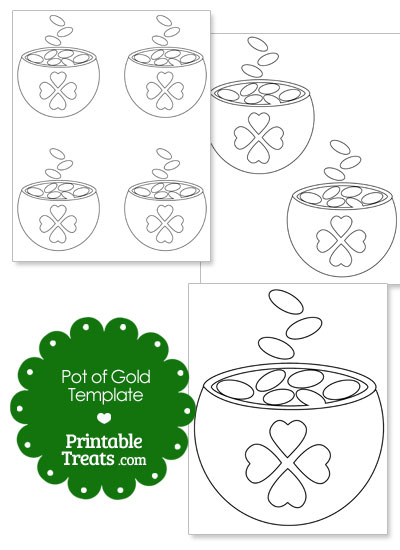 St Patricks Day Pot of Gold Template from PrintableTreats.com