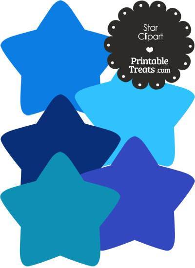 Star Clipart in Shades of Blue from PrintableTreats.com