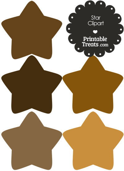 Star Clipart in Shades of Brown from PrintableTreats.com