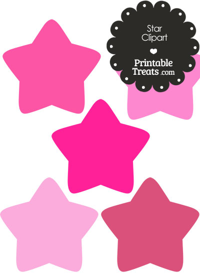 Star Clipart in Shades of Pink from PrintableTreats.com