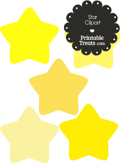 Star Clipart in Shades of Yellow from PrintableTreats.com