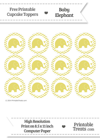 Straw Yellow Baby Elephant Chevron Cupcake Toppers from PrintableTreats.com