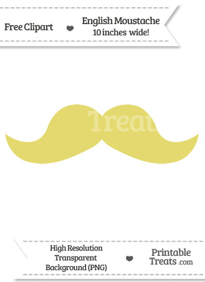 Straw Yellow English Mustache Clipart from PrintableTreats.com