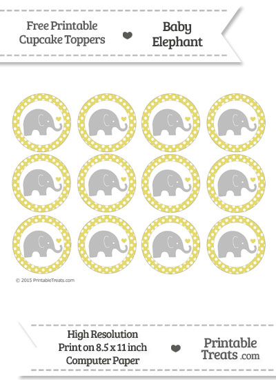 Straw Yellow Polka Dot Baby Elephant Cupcake Toppers from PrintableTreats.com