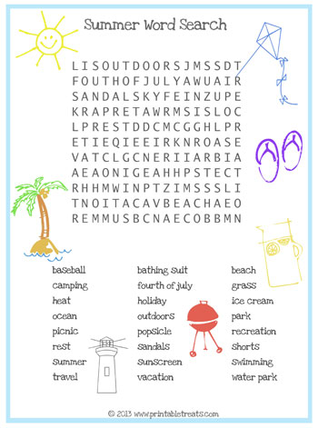 summer word search for kids