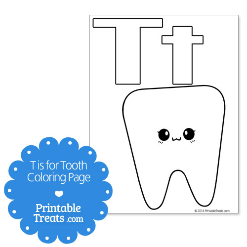 T is for Tooth Coloring Page — Printable Treats.com