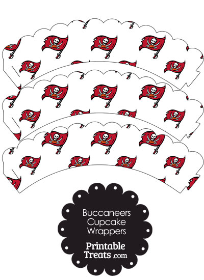 Tampa Bay Buccaneers Logo Scalloped Cupcake Wrappers from PrintableTreats.com