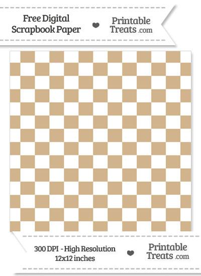 Tan Checkered Pattern Digital Paper from PrintableTreats.com