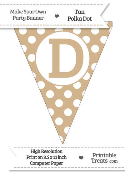 Tan Polka Dot Pennant Flag Capital Letter D from PrintableTreats.com