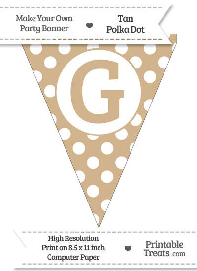 Tan Polka Dot Pennant Flag Capital Letter G from PrintableTreats.com