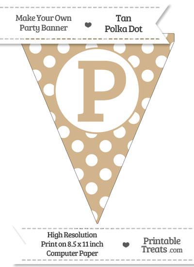 Tan Polka Dot Pennant Flag Capital Letter P from PrintableTreats.com