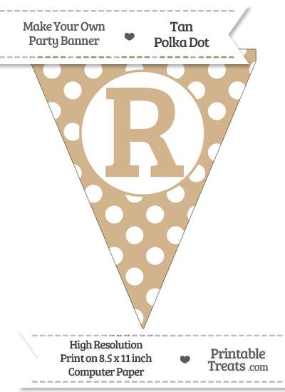 Tan Polka Dot Pennant Flag Capital Letter R from PrintableTreats.com