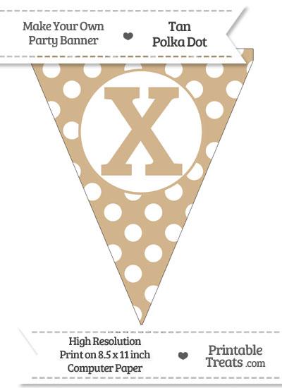 Tan Polka Dot Pennant Flag Capital Letter X from PrintableTreats.com