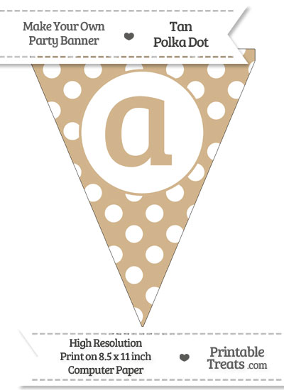 Tan Polka Dot Pennant Flag Lowercase Letter A from PrintableTreats.com