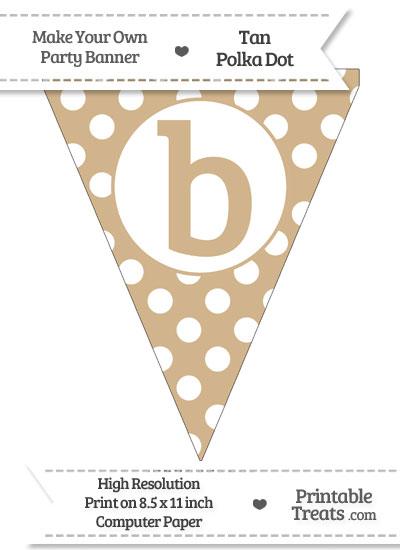 Tan Polka Dot Pennant Flag Lowercase Letter B from PrintableTreats.com