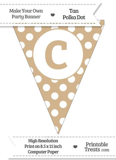 Tan Polka Dot Pennant Flag Lowercase Letter C from PrintableTreats.com