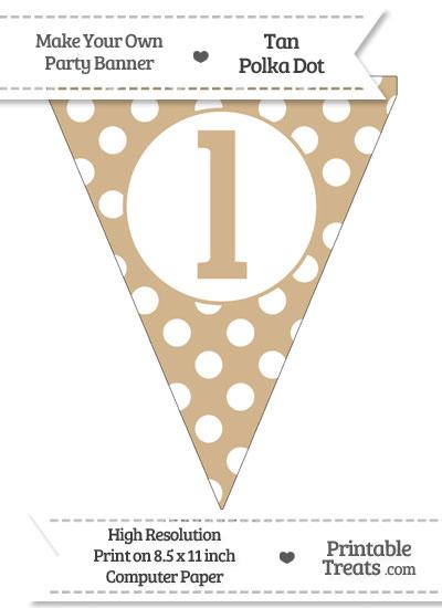 Tan Polka Dot Pennant Flag Lowercase Letter L from PrintableTreats.com