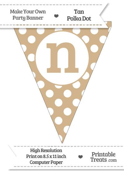 Tan Polka Dot Pennant Flag Lowercase Letter N from PrintableTreats.com