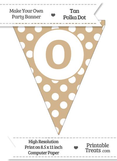 Tan Polka Dot Pennant Flag Lowercase Letter O from PrintableTreats.com