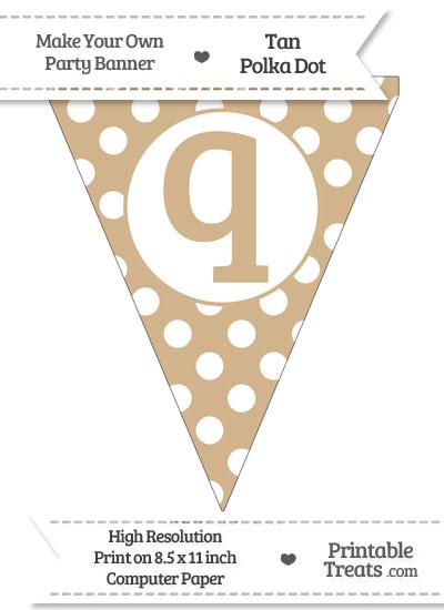 Tan Polka Dot Pennant Flag Lowercase Letter Q from PrintableTreats.com