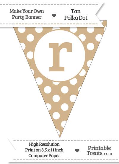 Tan Polka Dot Pennant Flag Lowercase Letter R from PrintableTreats.com