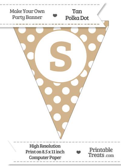 Tan Polka Dot Pennant Flag Lowercase Letter S from PrintableTreats.com