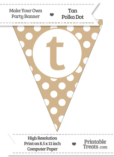 Tan Polka Dot Pennant Flag Lowercase Letter T from PrintableTreats.com