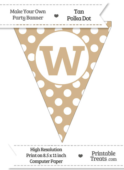 Tan Polka Dot Pennant Flag Lowercase Letter W from PrintableTreats.com