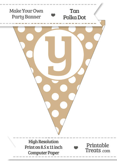 Tan Polka Dot Pennant Flag Lowercase Letter Y from PrintableTreats.com