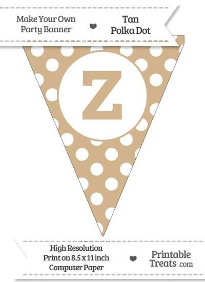 Tan Polka Dot Pennant Flag Lowercase Letter Z from PrintableTreats.com