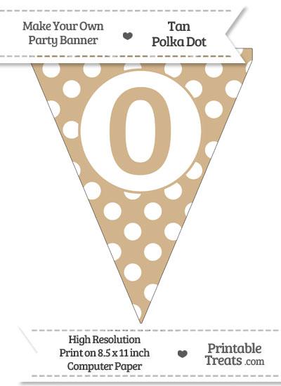 Tan Polka Dot Pennant Flag Number 0 from PrintableTreats.com