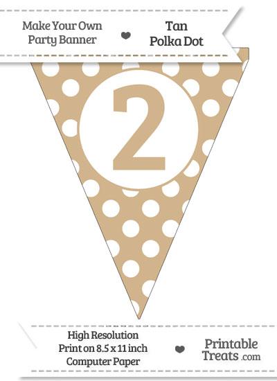 Tan Polka Dot Pennant Flag Number 2 from PrintableTreats.com
