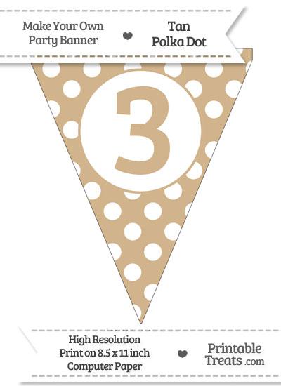 Tan Polka Dot Pennant Flag Number 3 from PrintableTreats.com