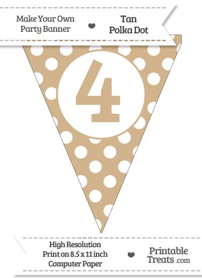 Tan Polka Dot Pennant Flag Number 4 from PrintableTreats.com