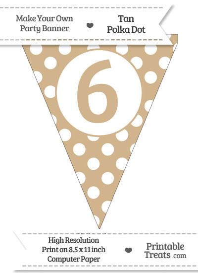 Tan Polka Dot Pennant Flag Number 6 from PrintableTreats.com