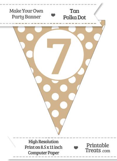Tan Polka Dot Pennant Flag Number 7 from PrintableTreats.com