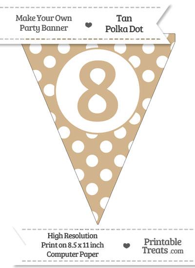 Tan Polka Dot Pennant Flag Number 8 from PrintableTreats.com