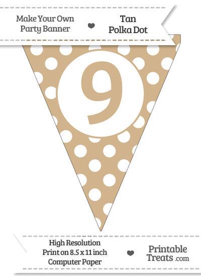 Tan Polka Dot Pennant Flag Number 9 from PrintableTreats.com