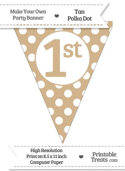 Tan Polka Dot Pennant Flag Ordinal Number 1st from PrintableTreats.com