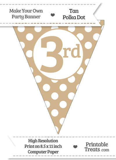 Tan Polka Dot Pennant Flag Ordinal Number 3rd from PrintableTreats.com