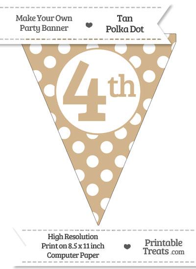 Tan Polka Dot Pennant Flag Ordinal Number 4th from PrintableTreats.com
