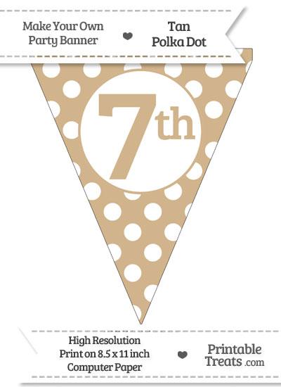 Tan Polka Dot Pennant Flag Ordinal Number 7th from PrintableTreats.com