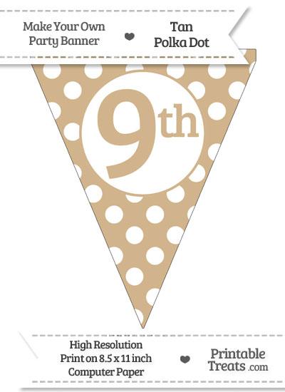 Tan Polka Dot Pennant Flag Ordinal Number 9th from PrintableTreats.com
