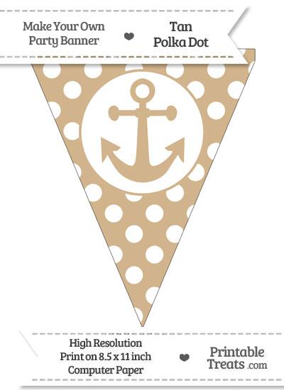Tan Polka Dot Pennant Flag with Anchor from PrintableTreats.com