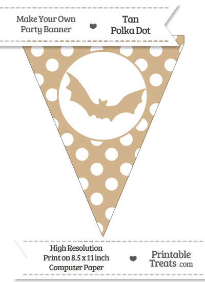 Tan Polka Dot Pennant Flag with Bat from PrintableTreats.com