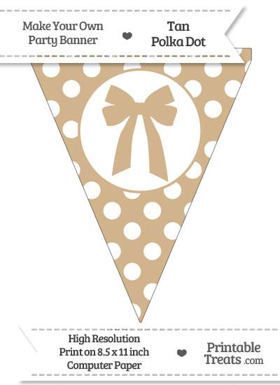 Tan Polka Dot Pennant Flag with bow from PrintableTreats.com