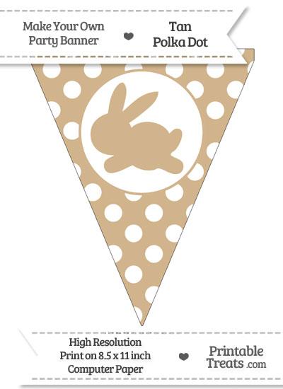 Tan Polka Dot Pennant Flag with Bunny Facing Left from PrintableTreats.com