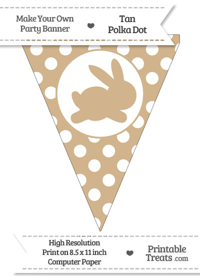 Tan Polka Dot Pennant Flag with Bunny Facing Right from PrintableTreats.com