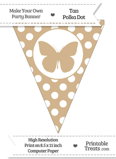 Tan Polka Dot Pennant Flag with Butterfly from PrintableTreats.com